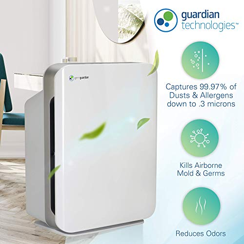 "Germ Guardian 21"" 3-in-1 True HEPA Filter Air Purifier for Home Germ Guardian AC5900WCA 21"" 3-in-1 True HEPA Filter Air Purifier for Home, Large Rooms, UV-C Sanitizer, Filters Allergies, Smoke, Dust, Pet Dander, & Odors, 3-Yr Wty, GermGuardian, White."