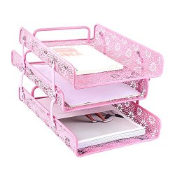 Crystallove Metal Hollow 3-Tier Document Tray Files Sorter Paper Holder Magazine Frame of Desk Accessories Office Supplies Organizer (Pink)