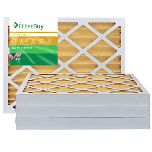 FilterBuy 16x20x2 MERV 11 Pleated AC Furnace Air Filter, (Pack of 4 Filters), 16x20x2 - Gold