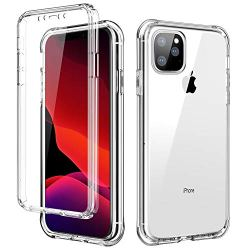 SKYLMW iPhone 11 Pro MAX Case,[Built in Screen Protector] Full Body Shockproof Dual Layer High Impact Protective Plastic & Soft TPU Phone Cover Cases for iPhone 11 Pro Max 6.5 inch 2019,Clear