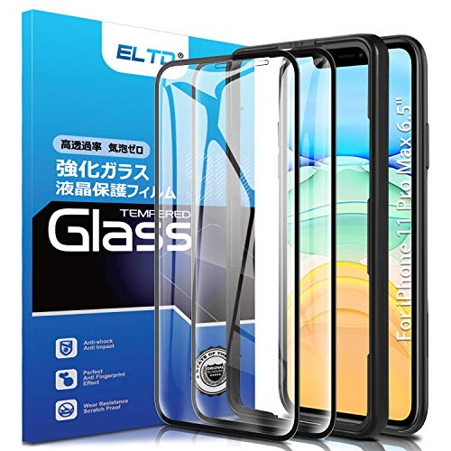 ELTD (2 Pack) Screen Protector for iPhone 11 Pro Max, 9H HD Full Coverage Tempered Glass Screen Protector for iPhone 2019/iPhone Pro Max 6.5 Inch (Black)