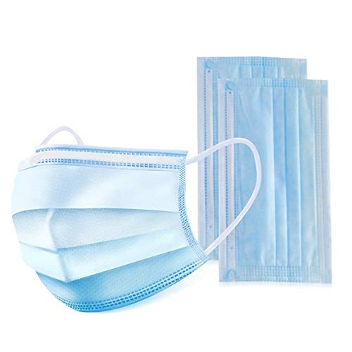 sodivi Disposable 3-Layer Masks for Blocking Dust Air Pollution, Flu,Germ, nCoV Protection Breathable Earloop Mouth Face Surgical Mask - 50 pcs