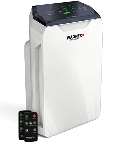 WAGNER Switzerland Air Purifier WA-777 for Rooms up to 500 sq.ft. Removes Mold, Odors, Dust, Smoke, Allergens, Germs and Pet Dander. True HEPA Filter 5-Stage Purification. Smart Air Quality Monitor.