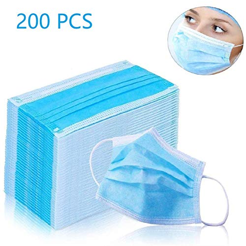 Disposable Earloop Face Masks -3 Ply Breathable and Comfortable Disposable Elastic Ear Loop,3-Layer Mouth Face Masks Blocking Dust Air Pollution Protection 200 PCS