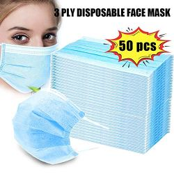 Disposable Face Masks, 3 Ply Disposable Earloop Mouth Face Mask Breathable and Comfortable for Blocking Dust Air Pollution Protection and Personal Health