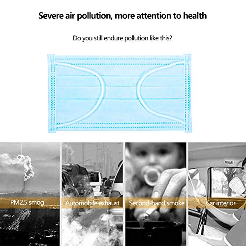 Breathable and Comfortable for Blocking Dust Air Pollution Protection 100 PCS Disposable Face Masks with Elastic Ear Loop 3 Ply Breathable and Comfortable for Blocking Dust Air Pollution Protection 100 PCS