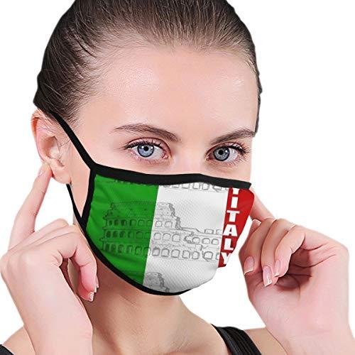 Anti-Dust Adjustable Elastic Strap Face Mask for Women Men Kids, Italy Italian Flag Roman Colosseum Reusable Half Face Mouth Mask for Pollen Smog, Dental, Running - Anti Pollution