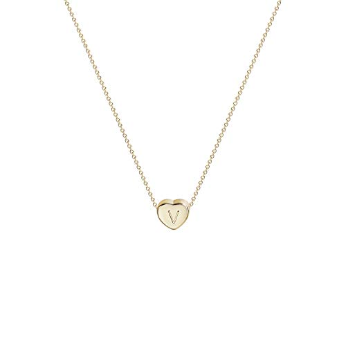 Tiny Gold Initial Heart Necklace-14K Gold Filled Handmade Dainty Personalized Letter Heart Choker Necklace Gift for Women Kids Child Necklace Jewelry (V)
