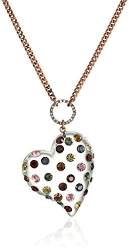 """Betsey Johnson """"Confetti Mixed Multi-Colored Stone Lucite Heart Long Pendant Necklace"""
