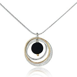 Stera Jewelry 925 Silver and 14k Gold Filled Black Onyx Multi Hoops Pendant Necklace, 18 + 4 Inches