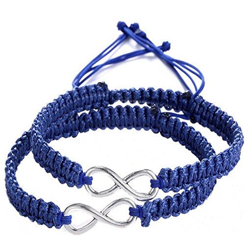 Rullar 2Pcs Women Men Handmade Infinity Forever Lovers Friendship Family Braided Cuff Link Strentch Boys Girls Couple Bracelets Dark Blue