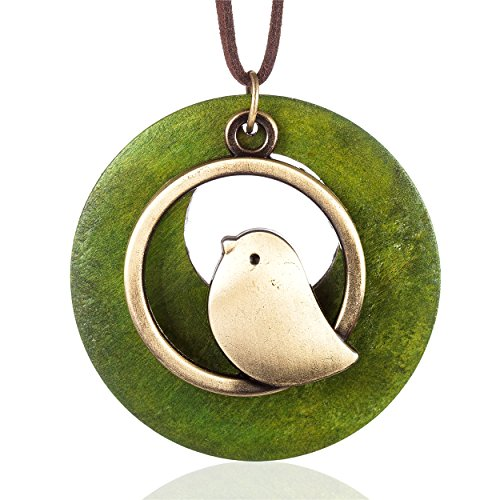 Coostuff Beautiful Brown Handmade Wood with Bird Pendant Vintage Jewelry Necklace for Women Handmade (Green)