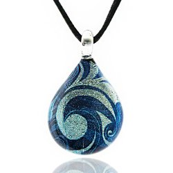 "Chuvora Women's Handblown Murano Glass Blue Sea Wave Teardrop Pendant Necklace, 17+2"" Extender"