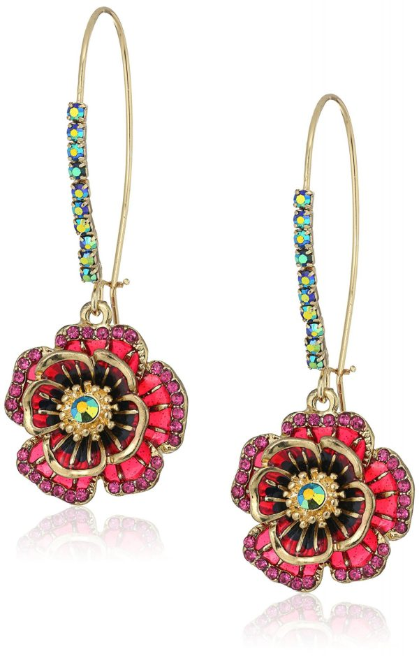 "Betsey Johnson ""Garden of Excess"" Rose Long Drop Earring"