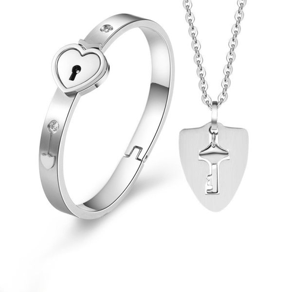 Lock Key Titanium Steel Stainless Steel Jewelry Bracelet