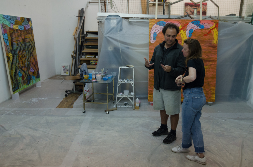 Dominic Terlizzi, director of St. Charles, and Delphine choosing work for Pre-Verse