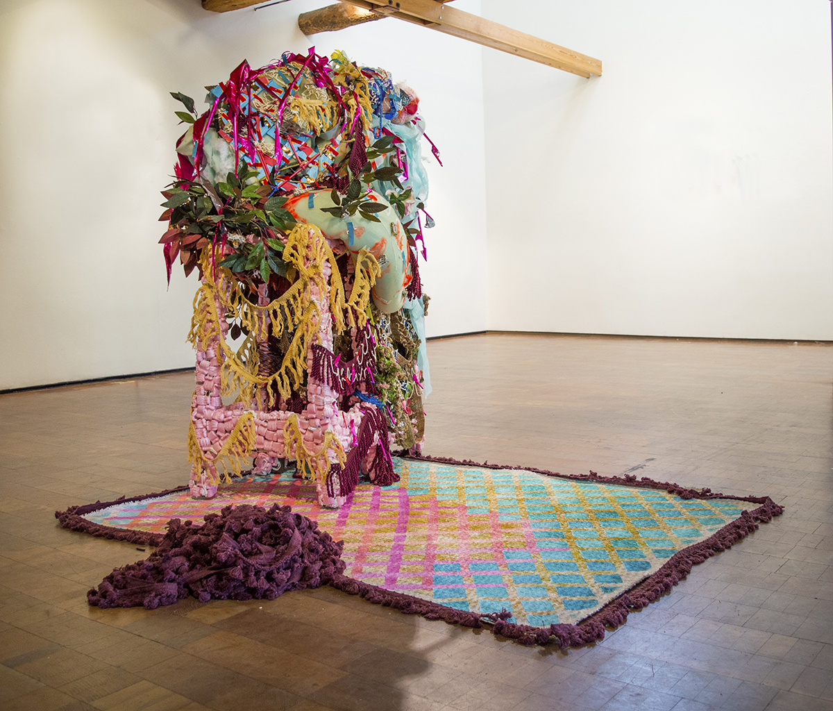 Peterson_Lauren_Howdy Neighbor and other colloquialisms having to do with biscuits and pies, Acrylic on stools, fabric, fencing, mattress topper, basket and artificial flowers, etal, 4x3x5ft_2019
