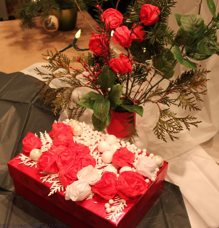 Christmas gift box and red roses