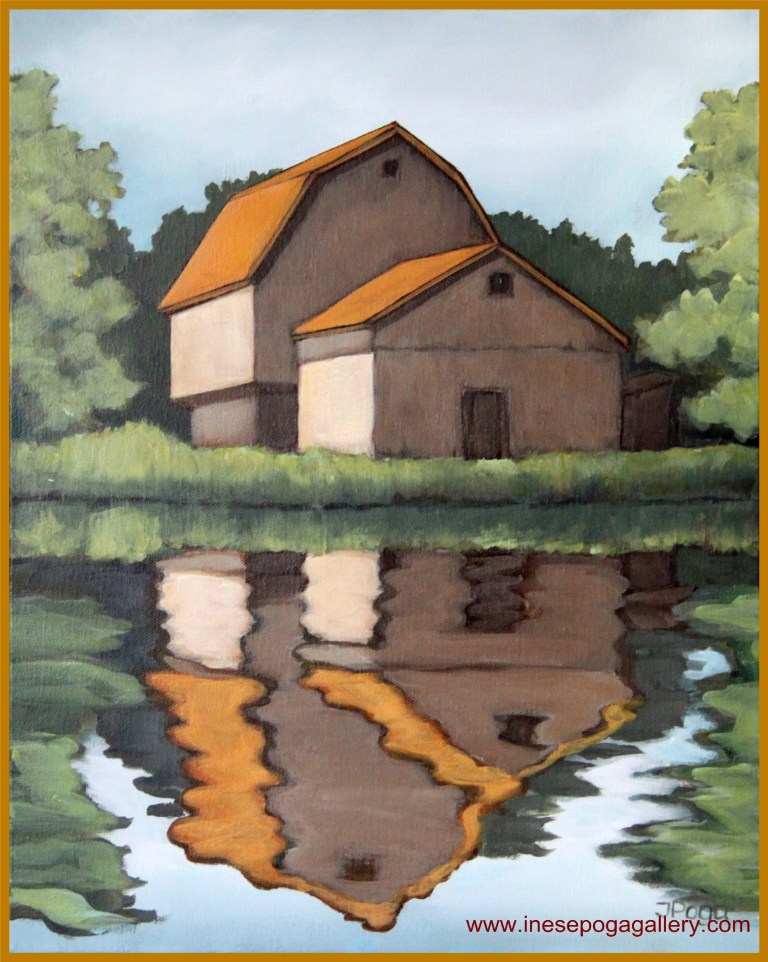 artbylocalartist Barn reflection
