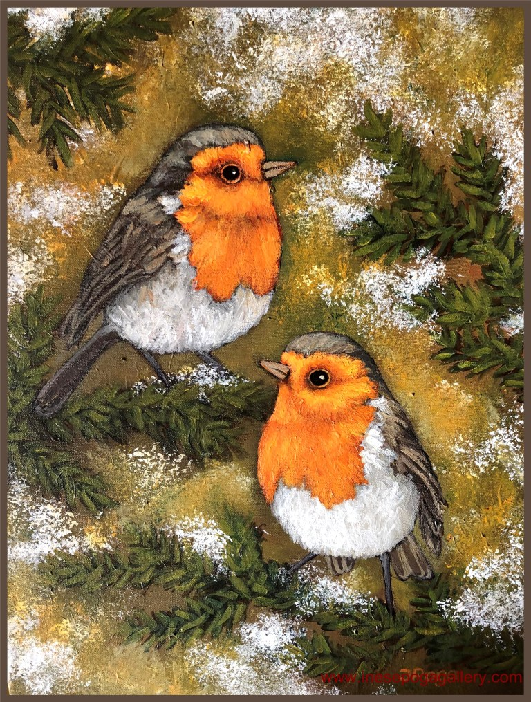 Bird painting for sale, holiday and Christmas art
