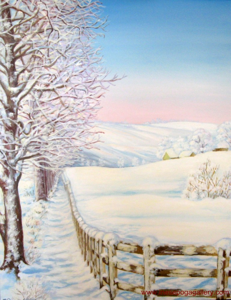 White winter path, acrylic painting 30 x 22 inches