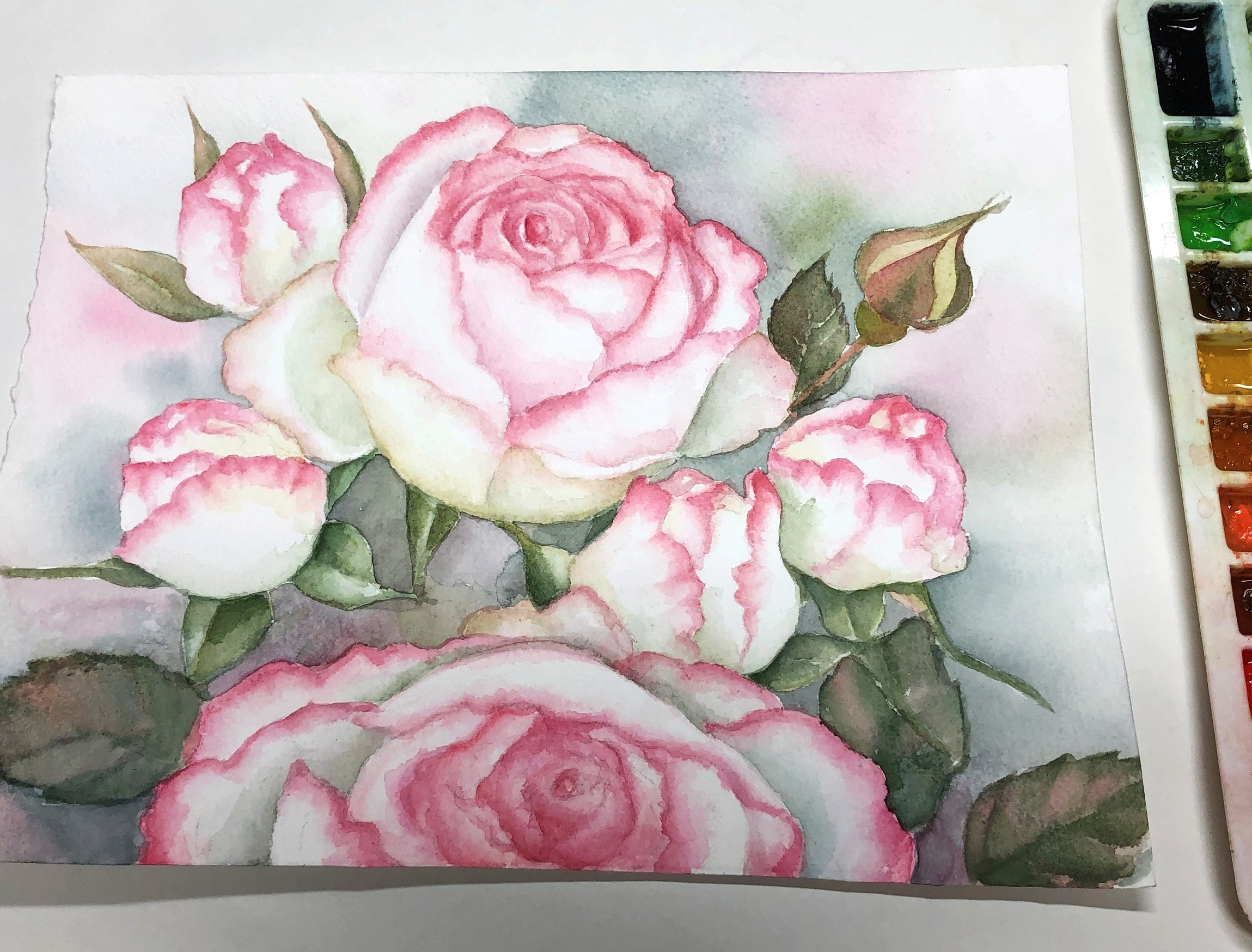 Watercolor flowers: serenity and hope