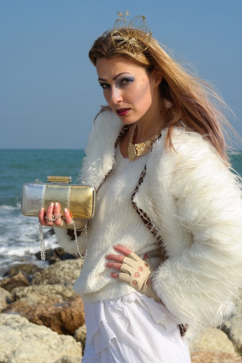 All white with gold accessories on blog