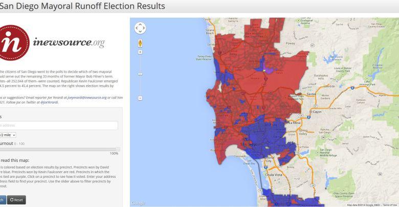 San Diego mayoral runoff map