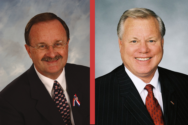 Oceanside Mayor Jim Wood (l) is seeking to unseat five-term San Diego county supervisor Bill Horn. Credit: courtesy photos.