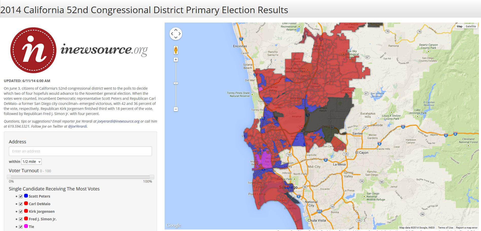 Map Of California Election Results.2014 California 52nd Congressional District Primary Election Results