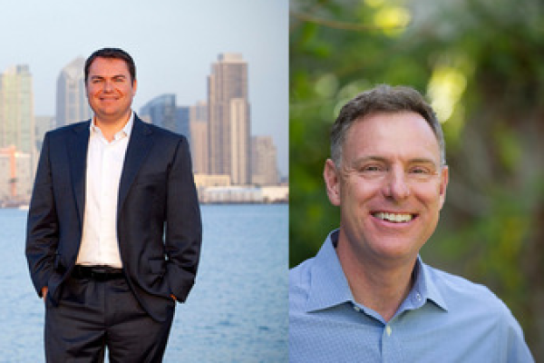 Republican Carl DeMaio (l) is challenging incumbent Democratic congressman Scott Peters in California's 52nd congressional district. Credit: courtesy photos.