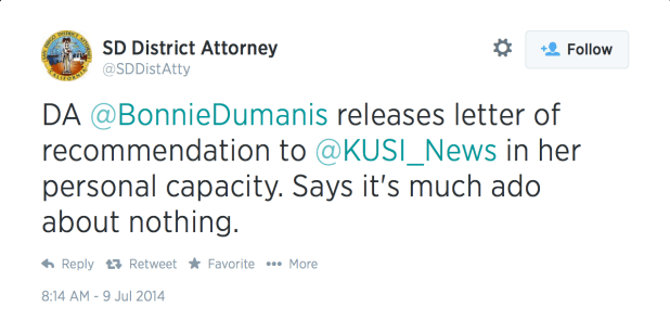 District Attorney's office tweeted Bonnie Dumanis' decision to release the letter of recommendation
