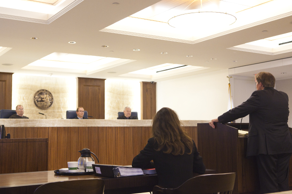 North County Transit District's counsel, Steven Boehmer, argues against the release of a management study in San Diego's Fourth District Court of Appeals on Tuesday, May 12, 2015. inewsource sued the transportation agency in 2014 on the grounds that the study, which assessed the leadership capabilities of NCTD's top managers and was conducted with taxpayer funds, is a public record that should be released. Photo by Brad Racino/inewsource.