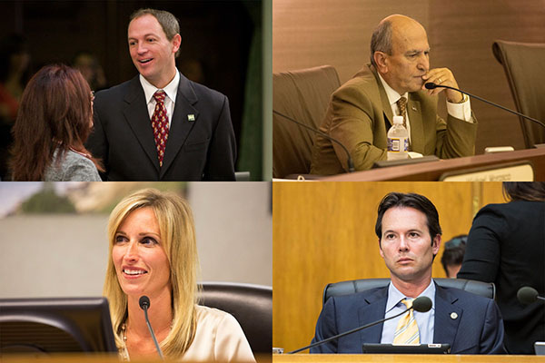 Clockwise from top left: Brian Maienschein, Sam Abed, Mark Kersey, Kristin Gaspar. Credits: Maienschein, courtesy photo; others, Megan Wood/inewsource.