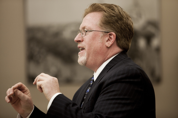 Attorney Cory Briggs argues a case against the city of San Diego in Superior Court. Photo by Sam Hodgson