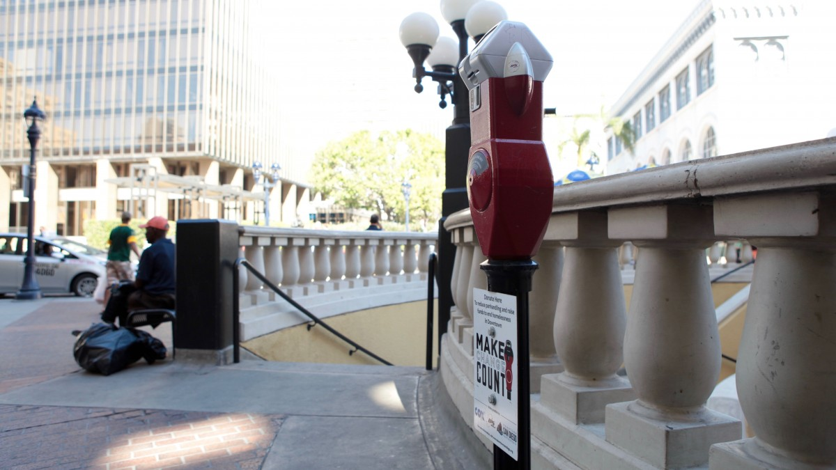 Meters like this one at Horton Plaza, downtown, collect donations for the homeless. Leo Castaneda, inewsource