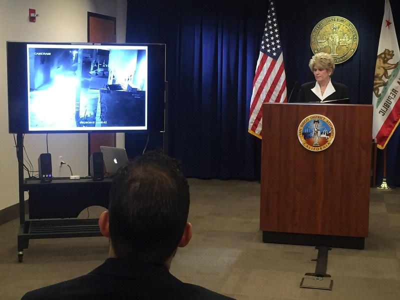 District Attorney Bonnie Dumanis shows a surveillance video that captured the April 30, 2015 officer-involved shooting in the Midway District, Dec. 22, 2015. Katie Schoolov, KPBS