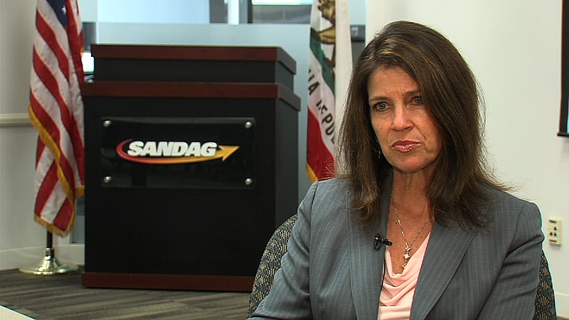 Colleen Windsor, SANDAG's director of communications, during an interview with KPBS, March 25, 2016. Kris Arciaga, KPBS
