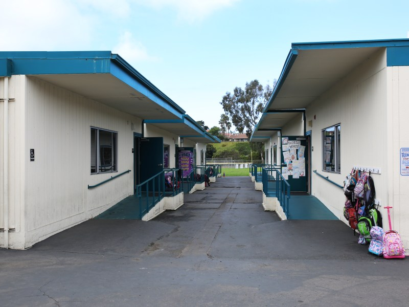 Two rows of portables sit across from each other in Solana Vista Elementary in the Solana Beach School District. It is one of the districts asking voters for new school bonds this November, intended in part to replace portable classrooms. April 12, 2016. Megan Wood, inewsource