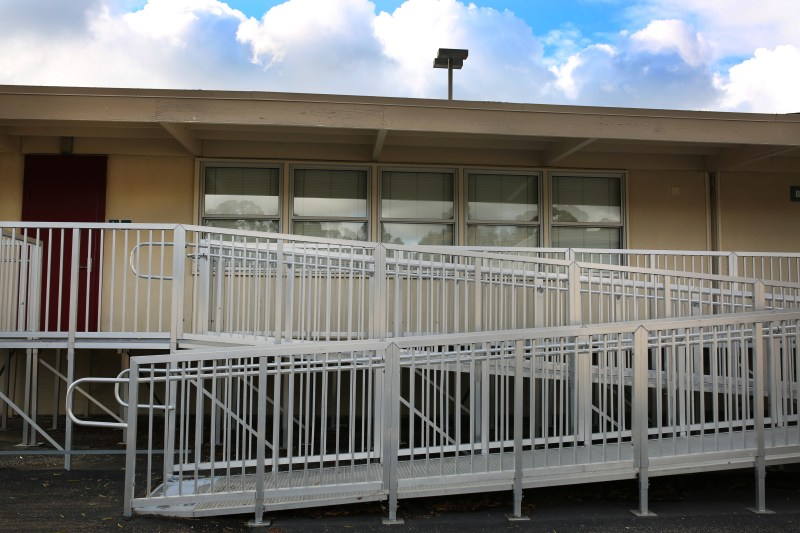 Students and teachers can only go in and out of the portables at Scripps Ranch High through aluminum walkways. Megan Wood, inewsource