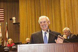 District 4 County Supervisor Ron Roberts is shown talking to an audience at the County Administration building on Jan. 5, 2015. Angela Carone, KPBS