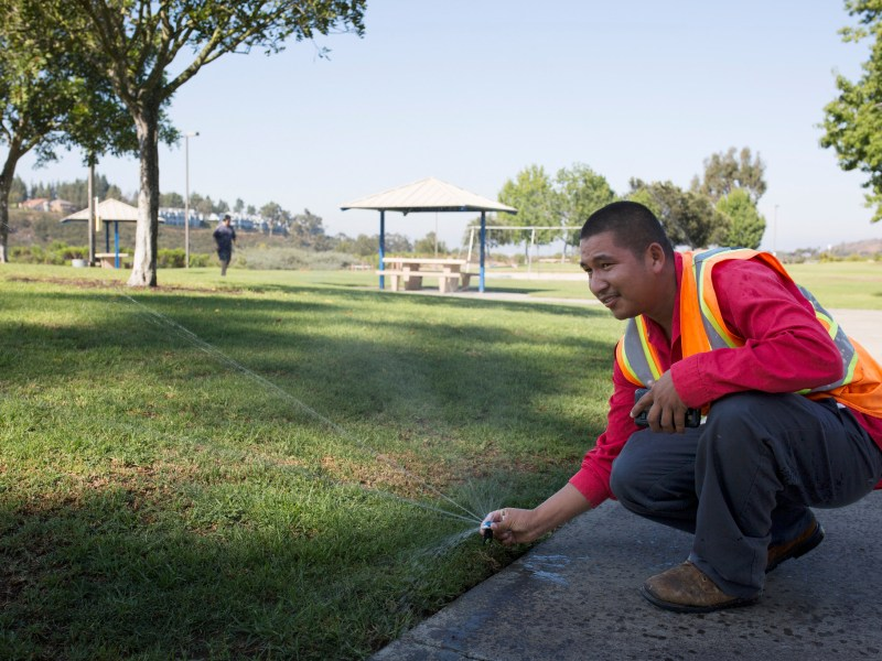 Jose Partida works on city properties for Landscapes USA. August 18, 2016. Megan Wood, inewsource.