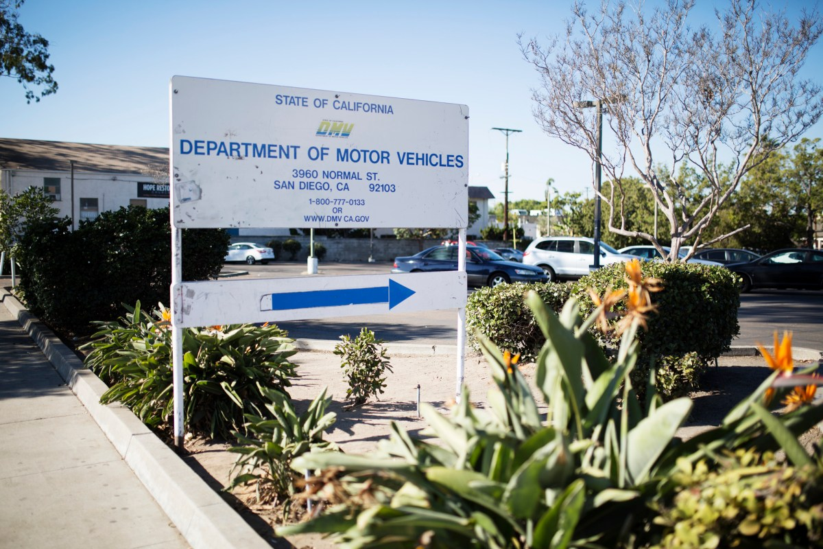 The sign at the entrance of the state Department of Motor Vehicles office on Normal Street in San Diego. Oct. 21, 2016. Megan Wood, inewsource.
