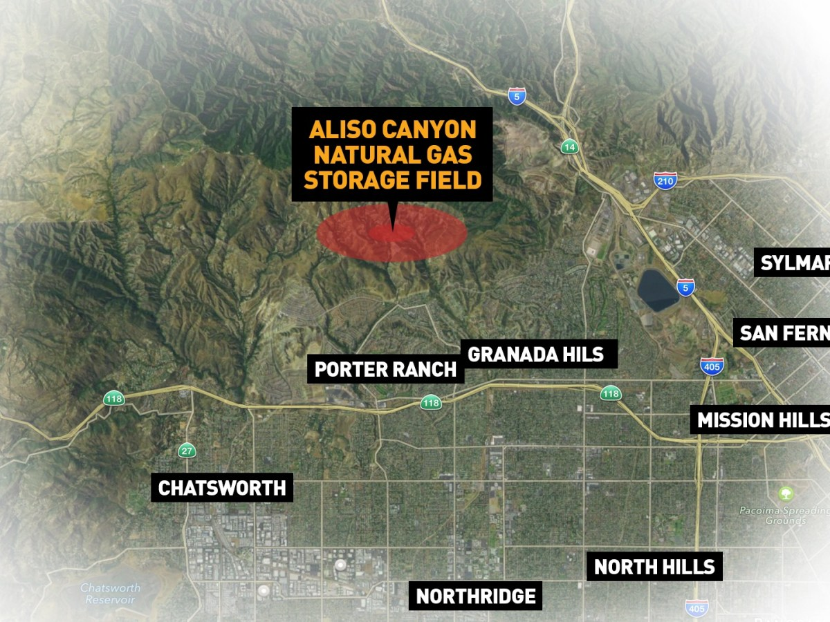 The Aliso Canyon natural gas storage area is owned by Southern California Gas and located in the hills behind Porter Ranch in the northern San Fernando Valley in Los Angeles County