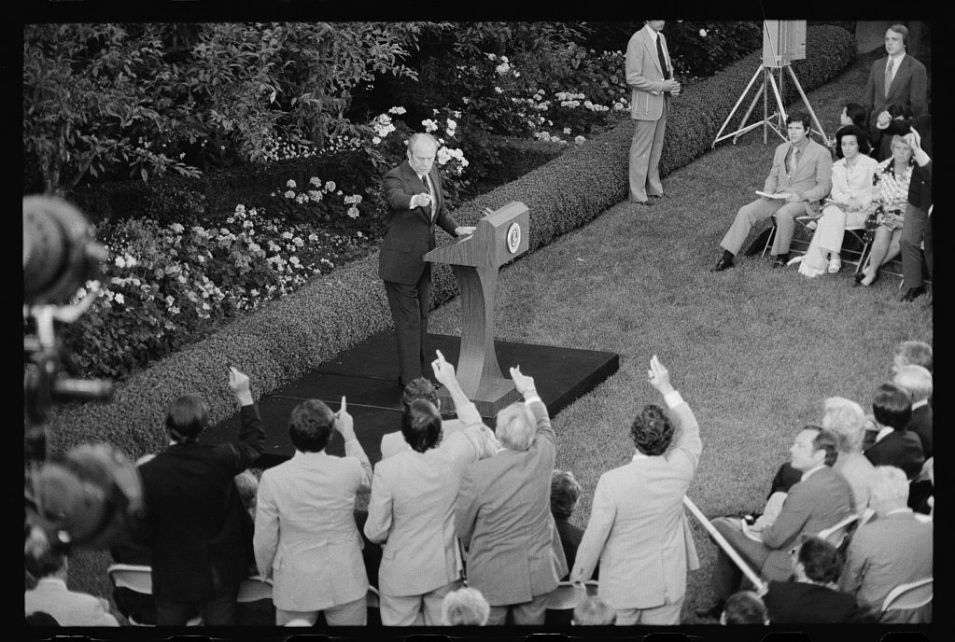 President Gerald Ford taking questions from reporters during a press conference at the White House, Washington, D.C. Courtesy of Library of Congress