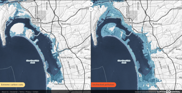 Map tools allow you to compare future and even distant future sea level scenarios based on how much carbon is added to the atmosphere today. Climate Central