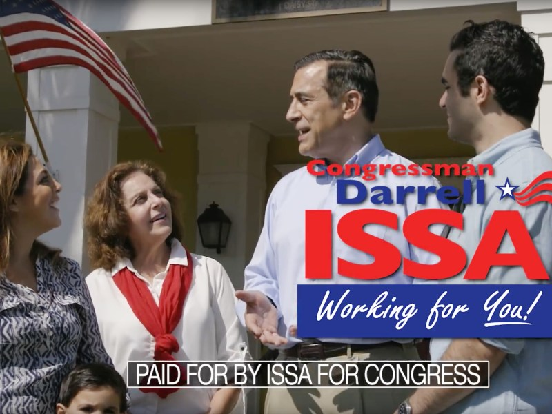 "Rep. Darrell Issa talks to people in this ad titled ""Effective."" Issa purchased almost $2 million of broadcast TV ads. Courtesy YouTube"