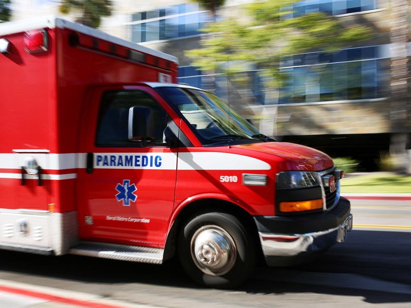 An ambulance on a San Diego street on March 27, 2016. Many of the people who fracture hips are taken by ambulance to emergency rooms or trauma centers. Megan Wood, inewsource.