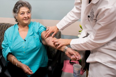 Dr. Danuta Trzebinska, medical director for the UCSD dialysis clinic, palpates patient Becky Hensley's fistula. March 14, 2017. Megan Wood, inewsource.