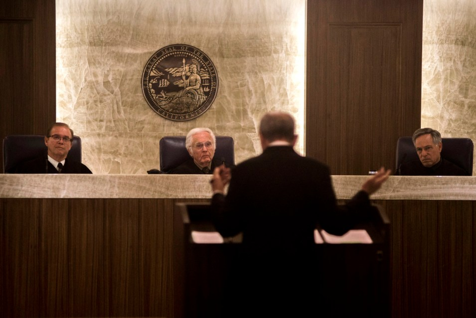From left, Justices Gilbert Nares, Richard D. Huffman and William Dato of the California 4th District Court of Appeal listen to oral arguments by John McClendon, who represents San Diegans for Open Government. April 14, 2017. Brandon Quester, inewsource.